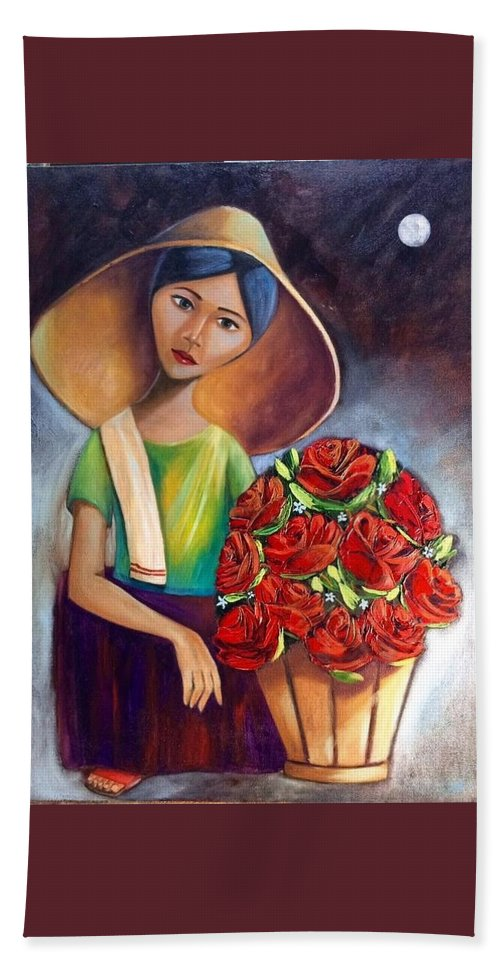 Beach Towel featuring the painting Roses Are Ref by Khristina Manansala