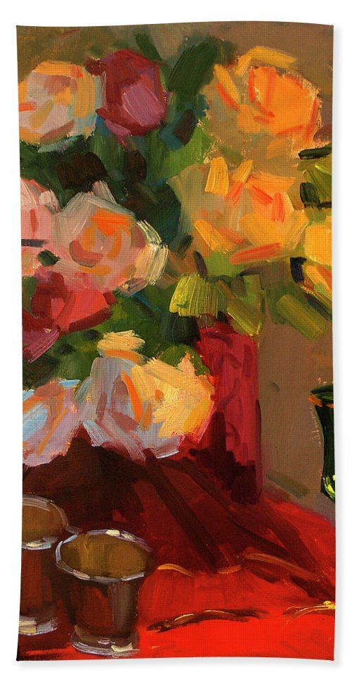 Roses Beach Towel featuring the painting Roses by Diane McClary