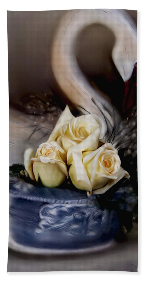 Roses Beach Towel featuring the painting roses for Susan by Bonnie Willis