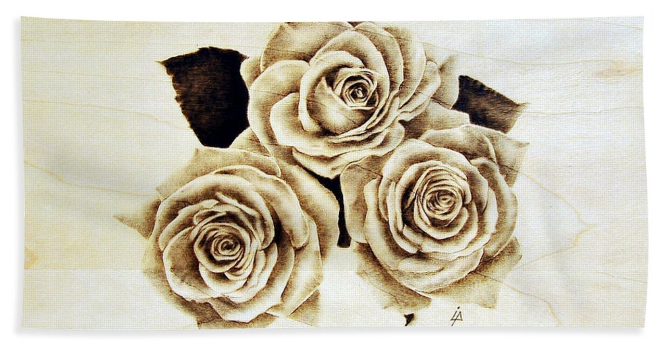 Pyrography Beach Towel featuring the pyrography Roses by Ilaria Andreucci