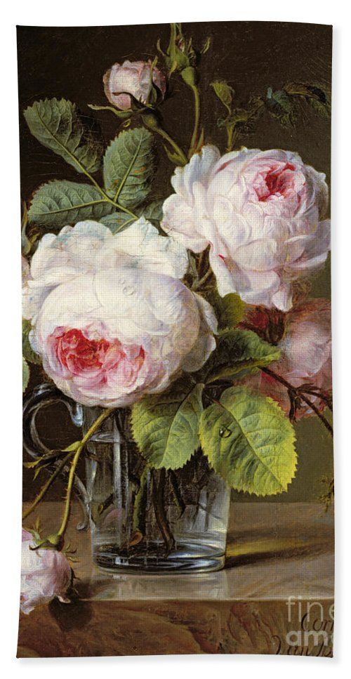 Roses In A Glass Vase On A Ledge Beach Towel For Sale By Cornelis