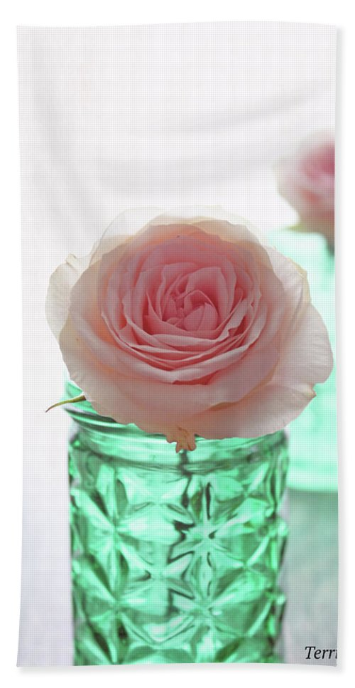 Roses Beach Towel featuring the photograph Roses In Green Jars by Terri Tiffany