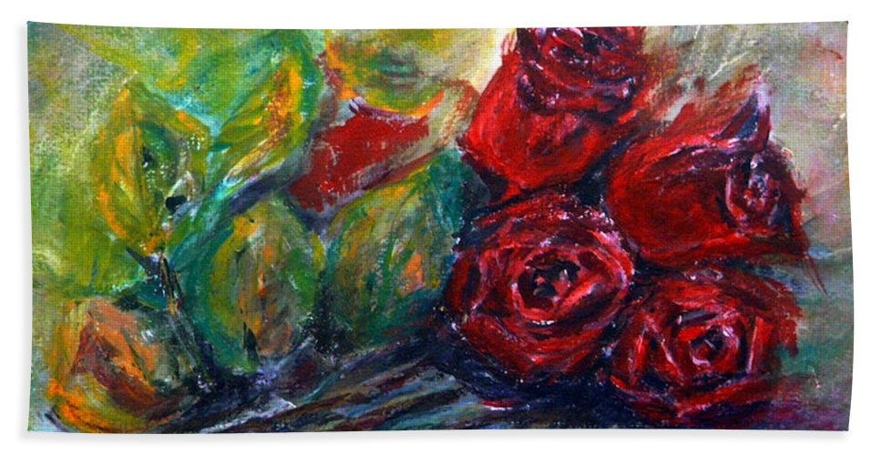 Roses Beach Towel featuring the painting Roses by Jasna Dragun