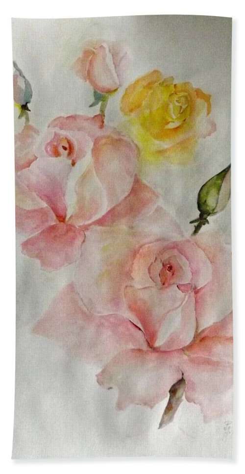 Flowers Beach Towel featuring the painting Roses Scent by Hedwig Pen