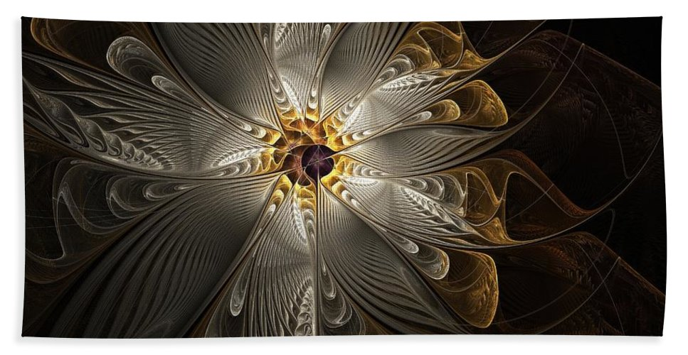 Digital Art Beach Towel featuring the digital art Rosette in Gold and Silver by Amanda Moore