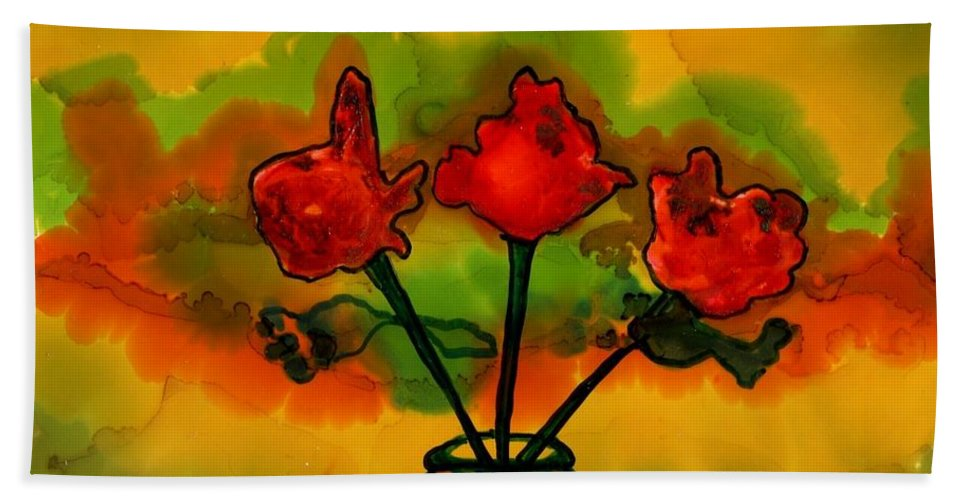 Vivid Colors Beach Towel featuring the painting Rosey Afternoon by Lyn Hayes