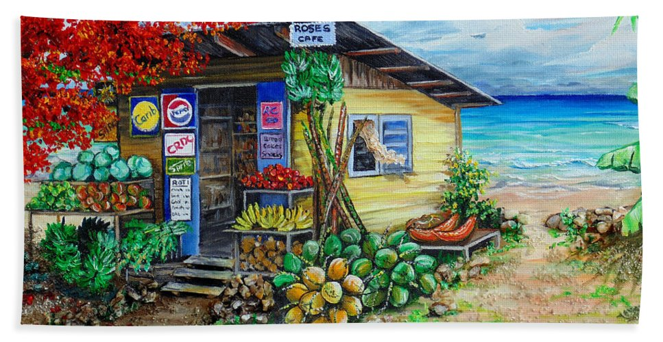 Beach Cafe Beach Towel featuring the painting Rosies Beach Cafe by Karin Dawn Kelshall- Best