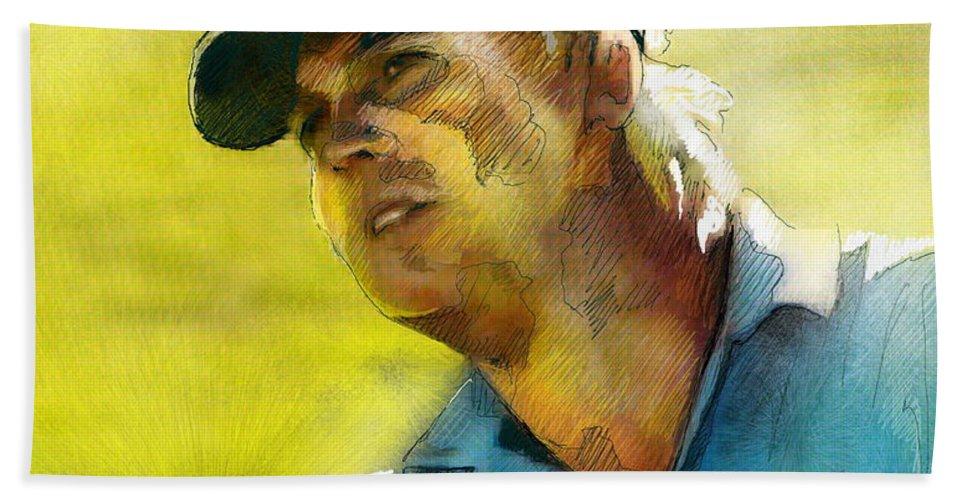 Golf Painting Portrait Ross Mcgowan Beach Towel featuring the painting Ross Mcgowan In The Madrid Masters by Miki De Goodaboom