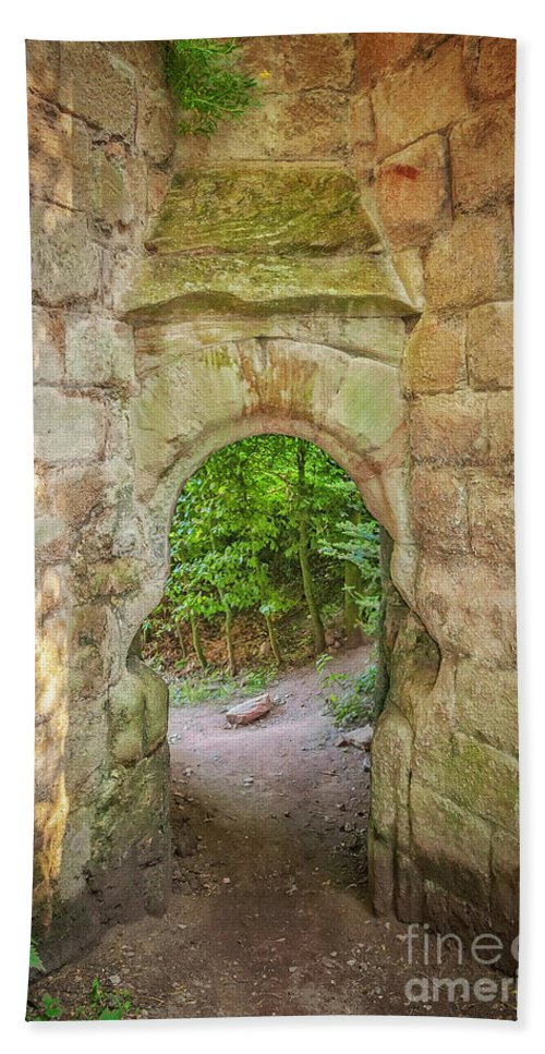 Castle Beach Towel featuring the photograph Rosslyn Castle Forest Entry by Antony McAulay