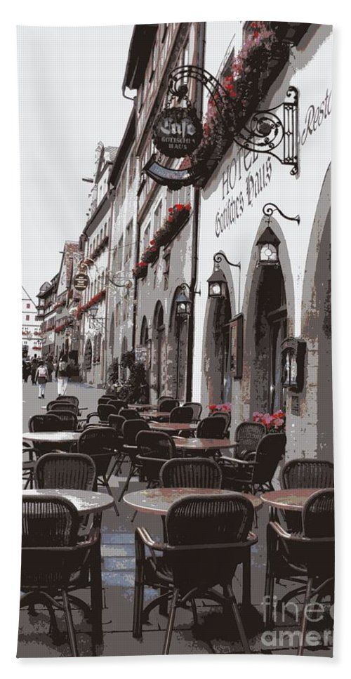 Rothenburg Beach Towel featuring the photograph Rothenburg Cafe - Digital by Carol Groenen