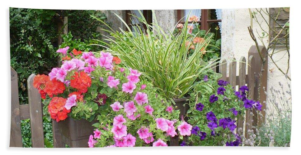 Garden Beach Sheet featuring the photograph Rothenburg Flower Box by Carol Groenen