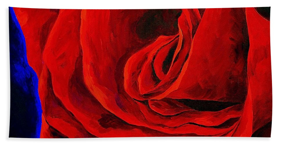 Rose Red Rose Deep Red Rose Beach Towel featuring the painting Rouge by Herschel Fall