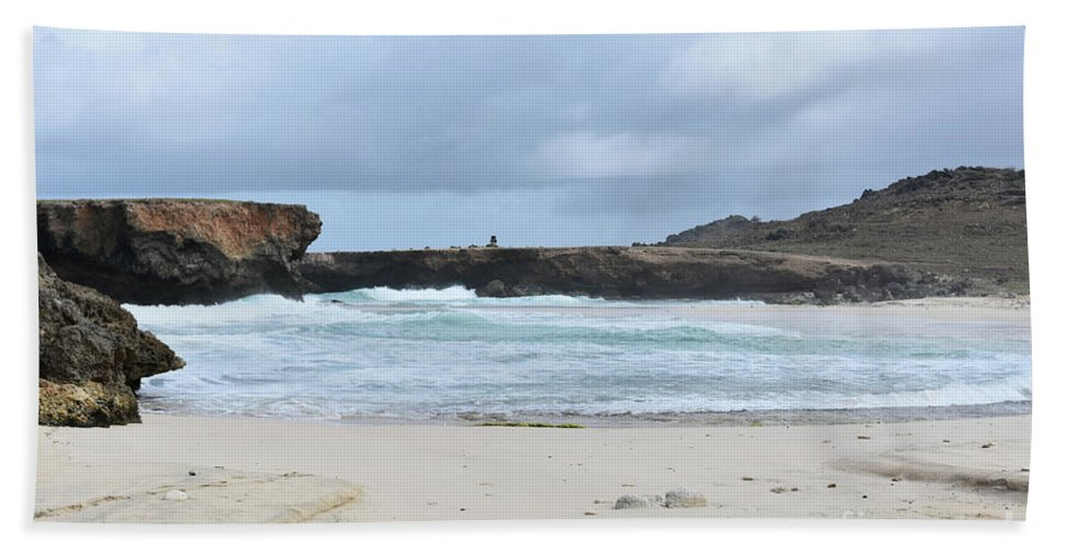Boca Keto Beach Towel featuring the photograph Rough Churning Waters Off The Coast Of Aruba by DejaVu Designs
