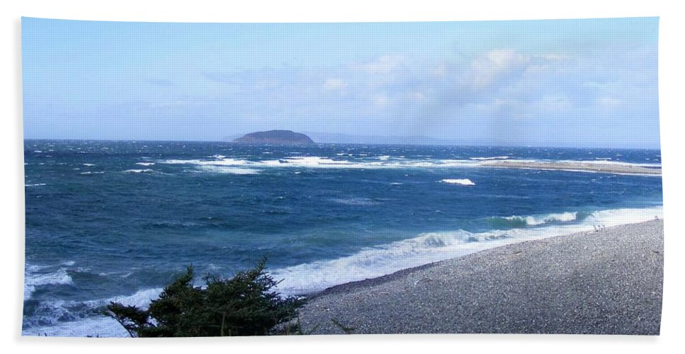 Windy Beach Towel featuring the photograph Rough Day On The Point by Barbara Griffin
