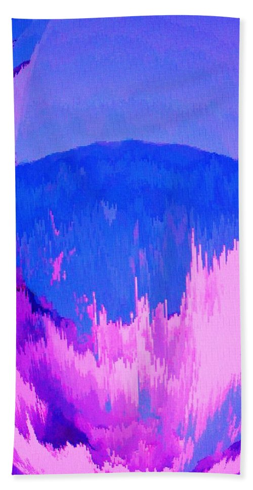 Abstract Beach Towel featuring the digital art Rough Seas In Dominica by Ian MacDonald