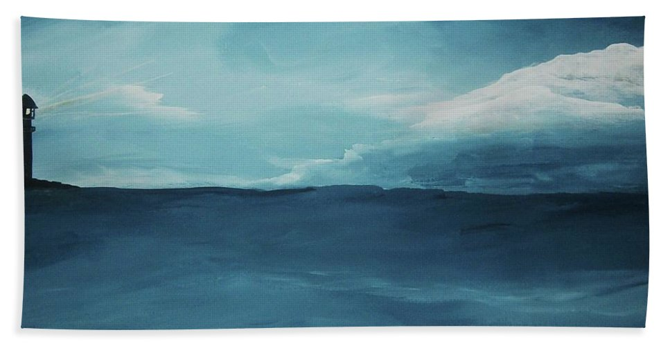 Ocean Beach Towel featuring the painting Rough Waters by Katie Slaby