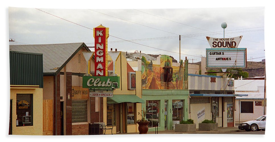 66 Beach Towel featuring the photograph Route 66 - Kingman Arizona by Frank Romeo
