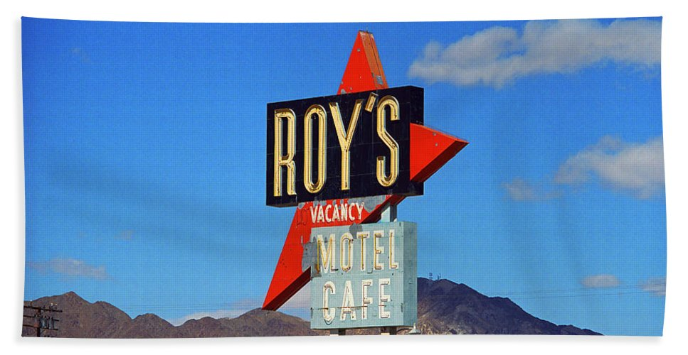 66 Beach Towel featuring the photograph Route 66 - Roy's Of Amboy California by Frank Romeo