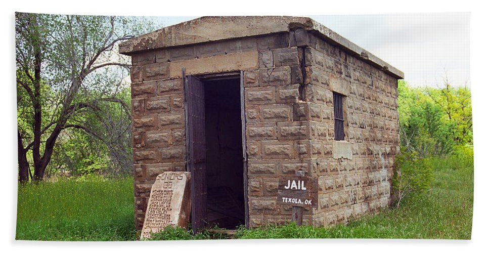 66 Beach Towel featuring the photograph Route 66 - Texola Jail by Frank Romeo