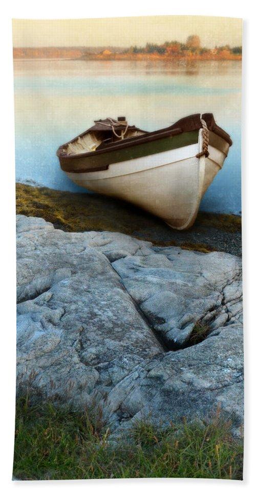 Coast Beach Towel featuring the photograph Row Boat On Shore by Jill Battaglia