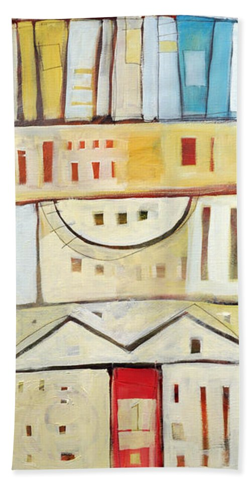 House Beach Towel featuring the painting Rowhouse No. 1 by Tim Nyberg
