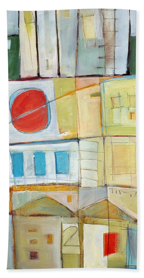 House Beach Towel featuring the painting Rowhouse No. 2 by Tim Nyberg
