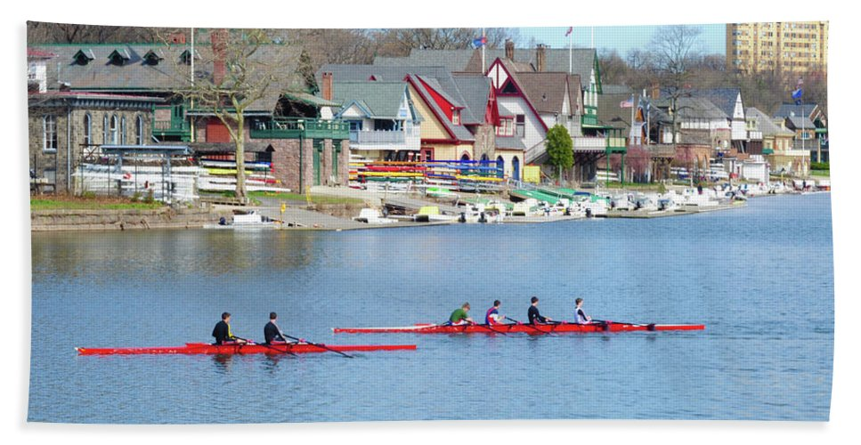 Rowers Beach Towel featuring the photograph Rowing Along The Schuylkill River by Bill Cannon