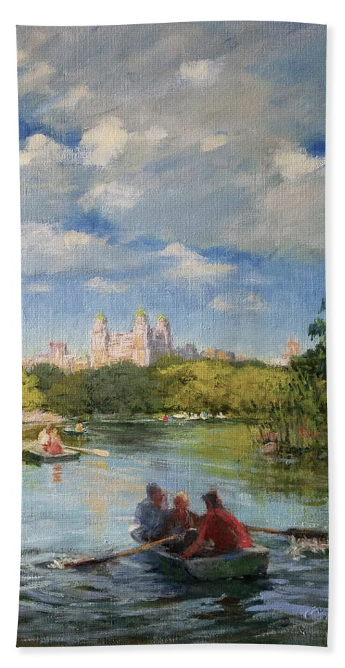 Urban Landscape Paintings Beach Sheet featuring the painting Rowing On The Lake, Central Park by Peter Salwen