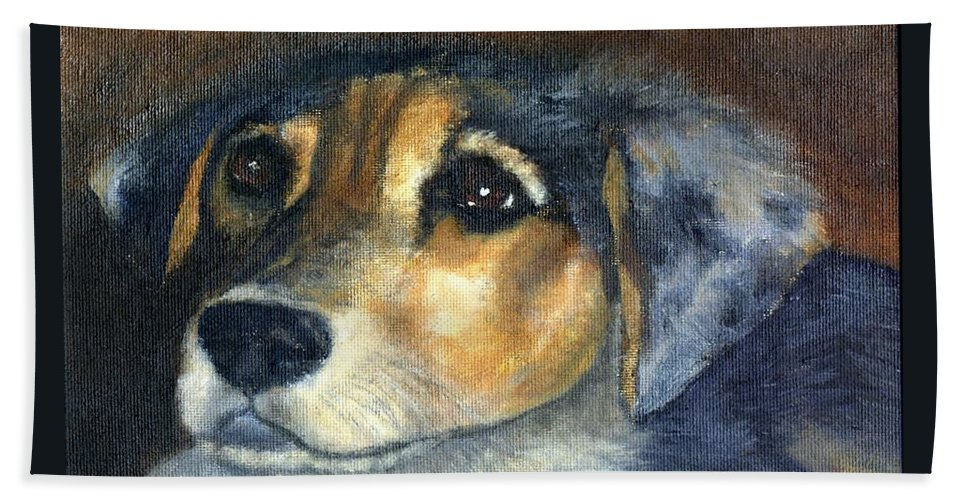 Dog Beach Towel featuring the painting Roxie by Gail Kirtz