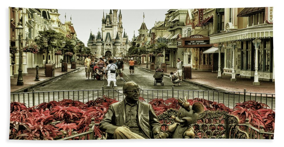 Magic Kingdom Beach Towel featuring the photograph Roy And Minnie Mouse Antique Style Walt Disney World MP by Thomas Woolworth