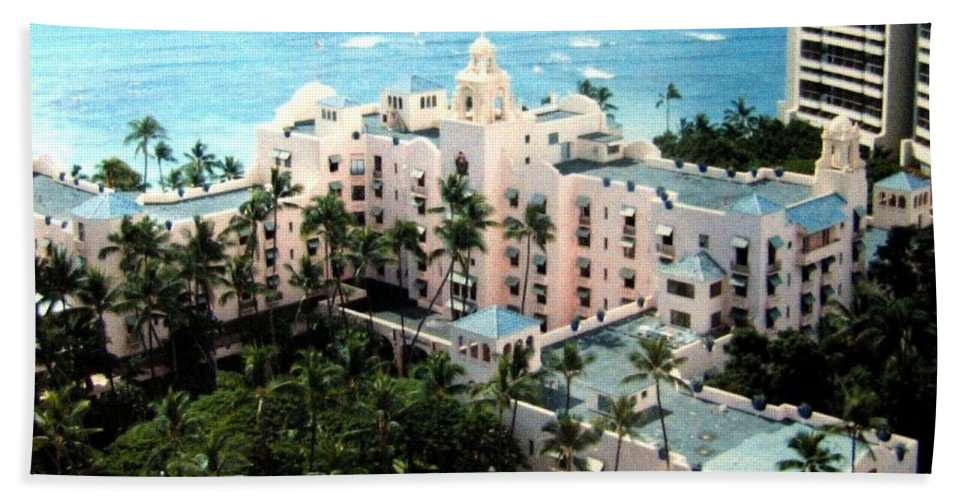 1986 Beach Towel featuring the photograph Royal Hawaiian Hotel by Will Borden