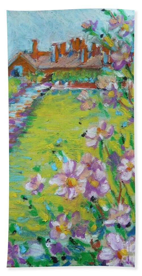 Landscape Beach Towel featuring the pastel Royal Visit by K M Pawelec