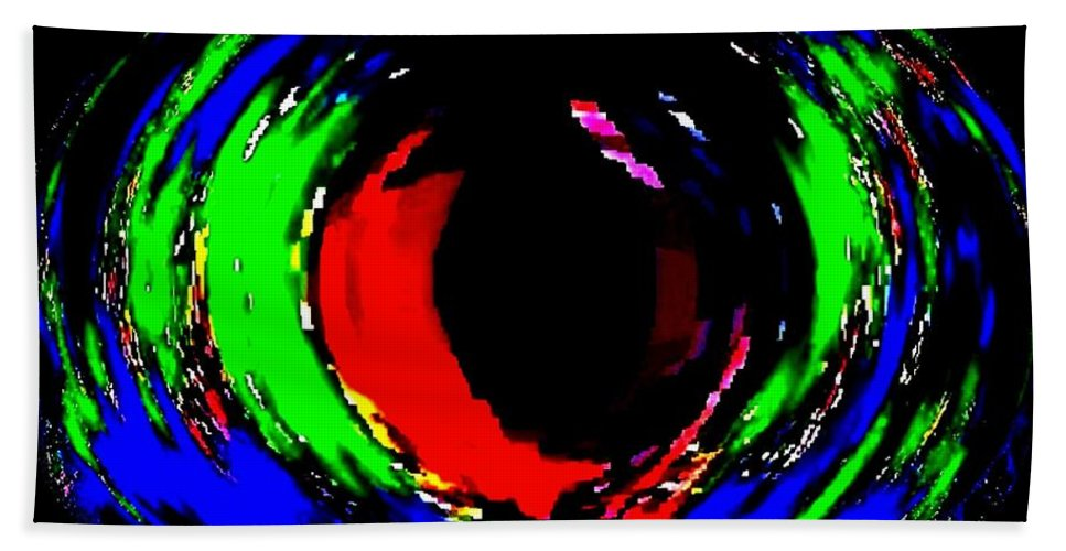 Abstract Beach Towel featuring the digital art Ruby Eye by Will Borden