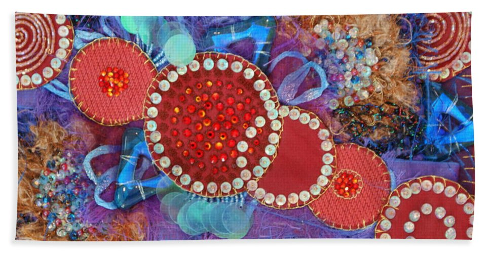 Beach Towel featuring the mixed media Ruby Slippers 1 by Judy Henninger