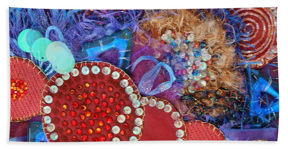 Beach Towel featuring the mixed media Ruby Slippers 3 by Judy Henninger