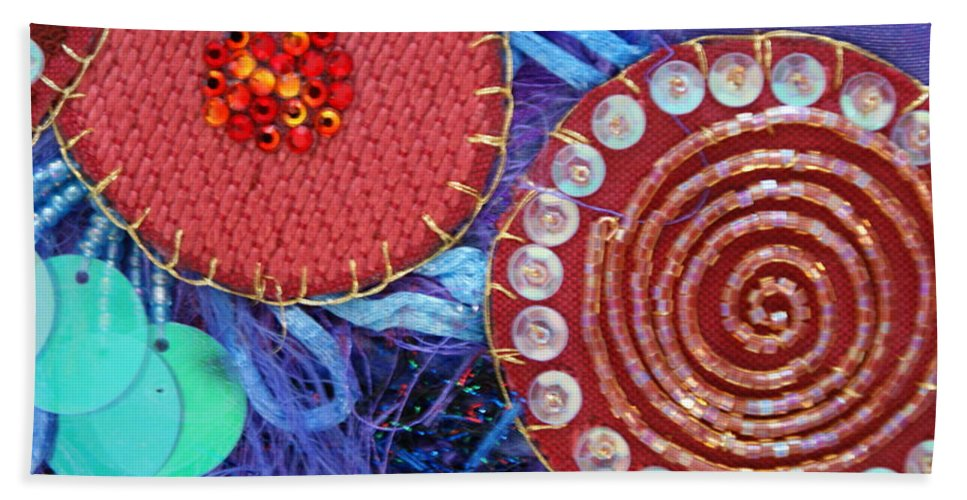 Beach Sheet featuring the mixed media Ruby Slippers 5 by Judy Henninger