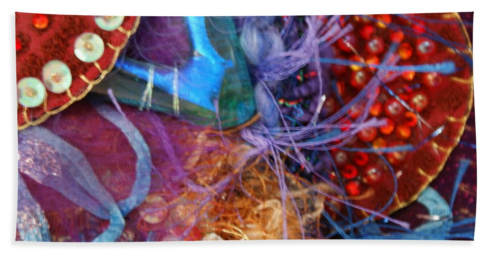 Beach Towel featuring the mixed media Ruby Slippers 6 by Judy Henninger