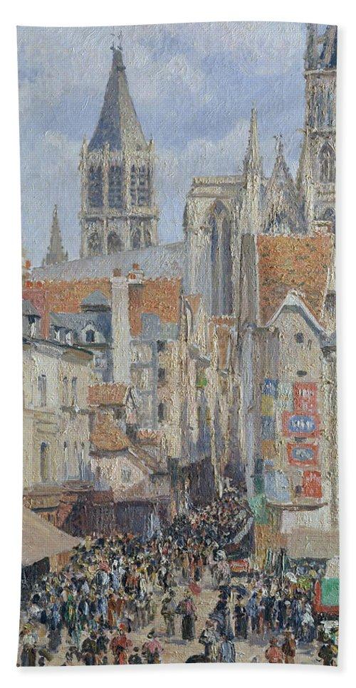 19th Century Art Beach Towel featuring the painting Rue De L'epicerie, Rouen by Camille Pissarro