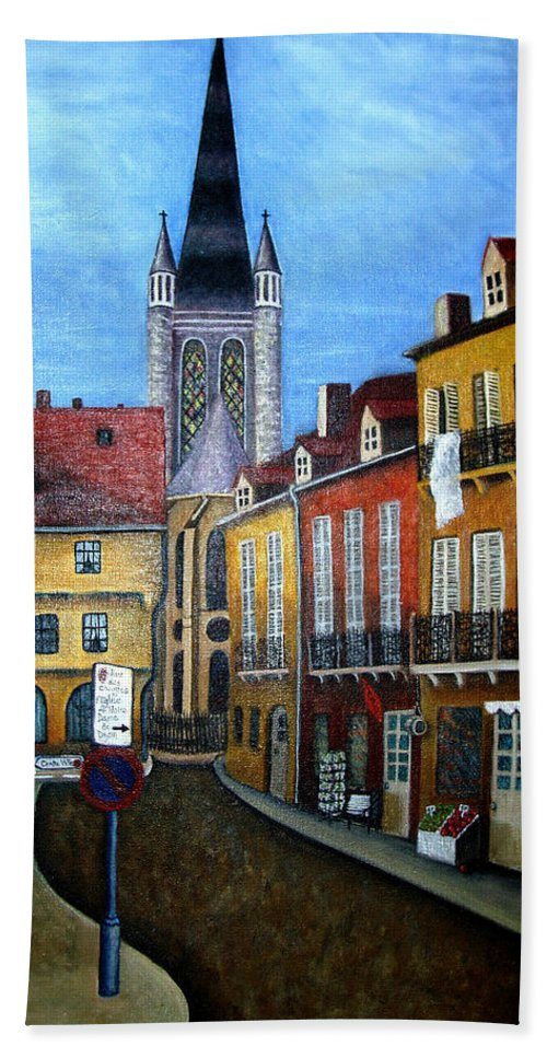 Street Scene Beach Towel featuring the painting Rue Lamonnoye In Dijon France by Nancy Mueller
