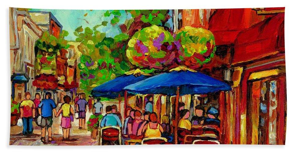 Rue Prince Arthur Montreal Beach Towel featuring the painting Rue Prince Arthur Montreal by Carole Spandau