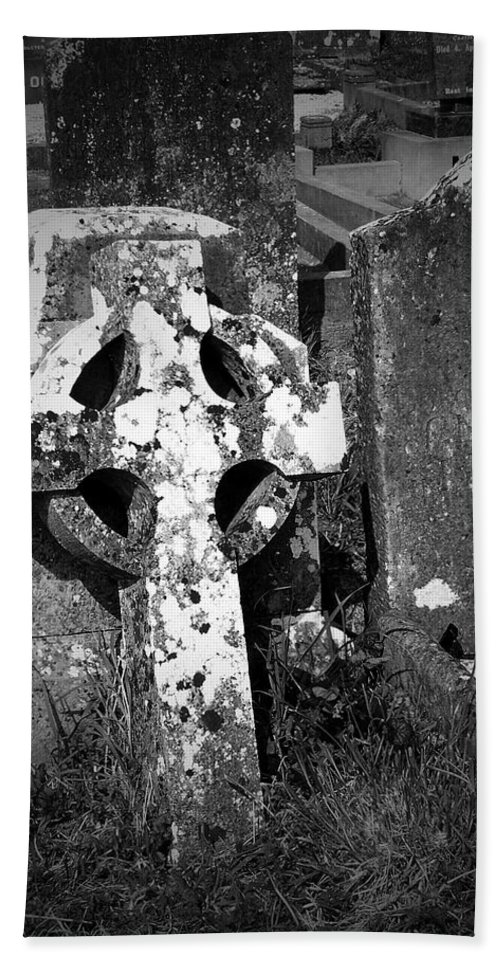 Celtic Beach Towel featuring the photograph Rugged Cross At Fuerty Cemetery Roscommon Ireland by Teresa Mucha
