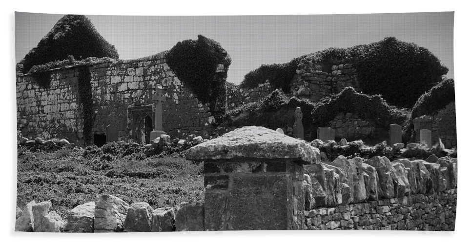 Irish Beach Sheet featuring the photograph Ruins In The Burren County Clare Ireland by Teresa Mucha