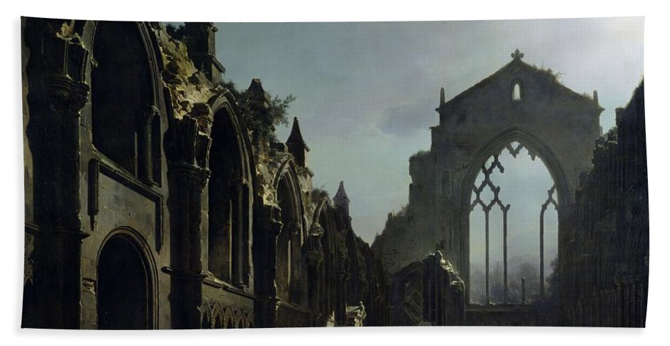 Ruins Of Holyrood Chapel (oil On Canvas) By Louis Jacques Mande Daguerre (1787-1851) Ruin; Remains; Scottish; English Architecture; Gothic; Pointed Arch; Window; Edinburgh; Nocturne; Moonlight; Atmospheric; Ruines; Chapelle; Gothic Beach Towel featuring the painting Ruins Of Holyrood Chapel by Louis Jacques Mande Daguerre