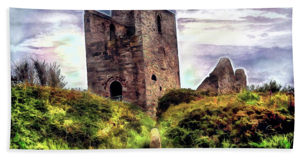Ruins Beach Towel featuring the digital art Ruins Of The Old Tin Mine by Pennie McCracken