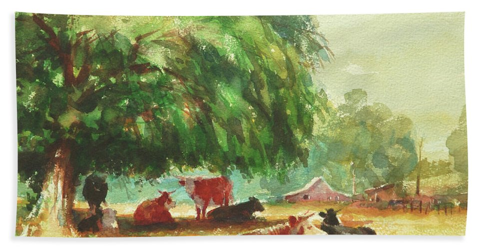 Cows Beach Towel featuring the painting Rumination by Steve Henderson
