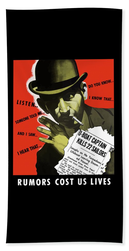 World War Ii Beach Towel featuring the painting Rumors Cost Us Lives by War Is Hell Store