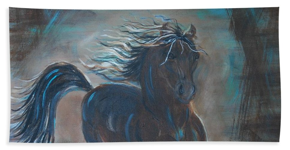 Horse Beach Towel featuring the painting Run Horse Run by Leslie Allen
