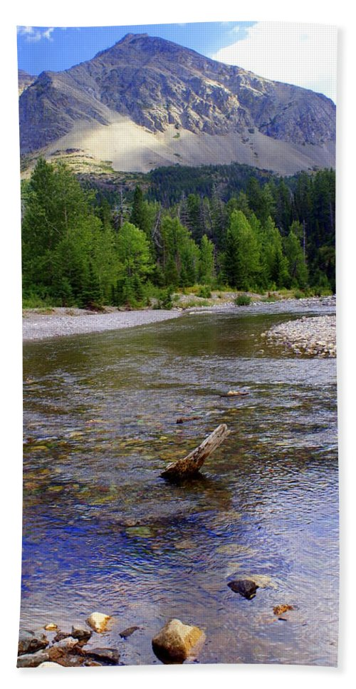 Stream Glacier National Park Beach Towel featuring the photograph Running Eagle Creek Glacier National Park by Marty Koch