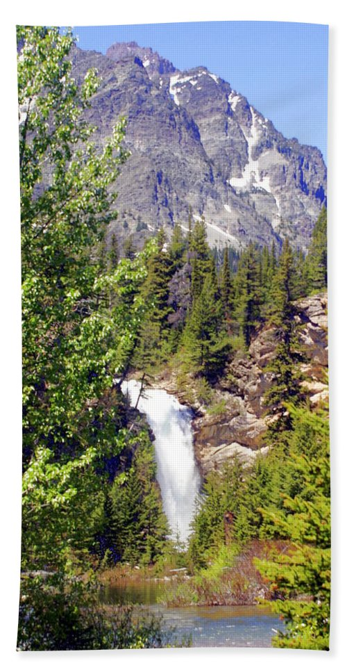 Waterfalls Beach Sheet featuring the photograph Running Eagle Falls Glacier National Park by Marty Koch