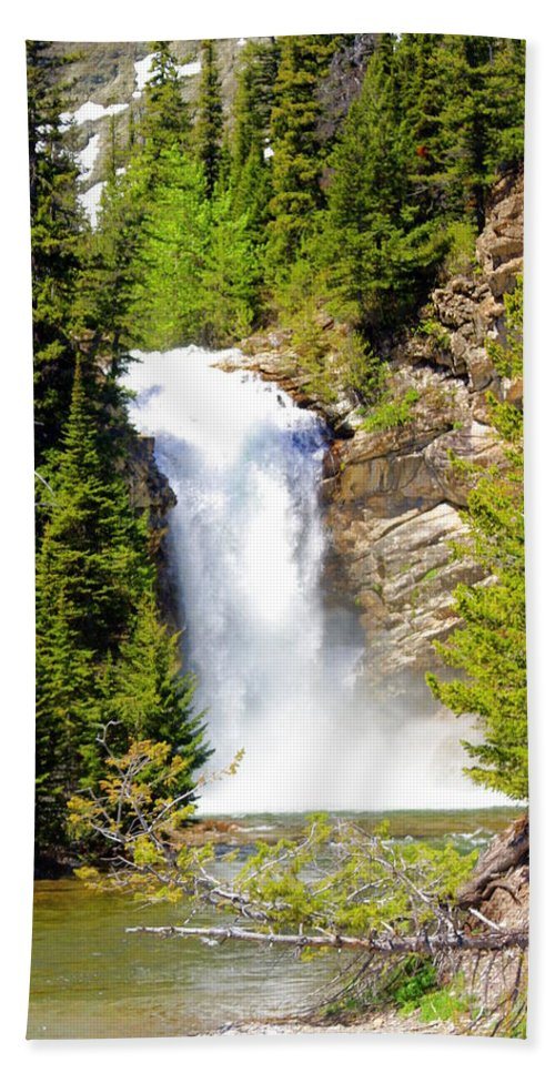 Waterfalls Beach Sheet featuring the photograph Running Eagle Falls by Marty Koch